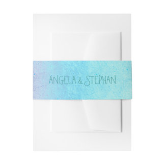 beach ombre turquoise wedding invitation belly band