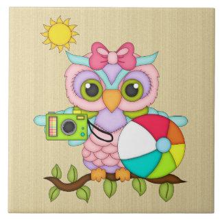 Beach Owl Theme cartoon tile
