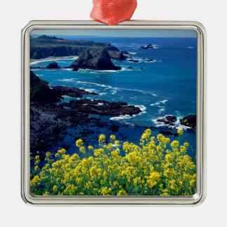 Beach Pacific Coastline Wildflowers Mendocino Metal Ornament
