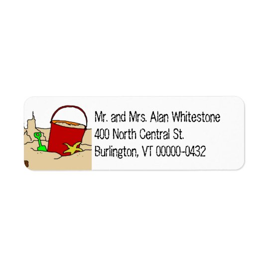 Beach Pail Tropical Theme Return Address Labels