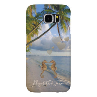Beach,Palm,Seahorses In Love -Personalized