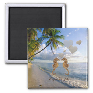 Beach,Palm,Seahorses In Love -Personalized Magnet