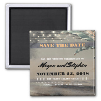 Beach Palm String Lights Vintage Save the Date Magnet