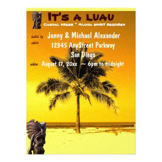 Beach Palm Tree Luau Invitations