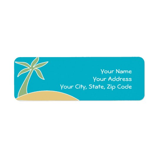 Beach Palm Tree Return Address Invitation Label