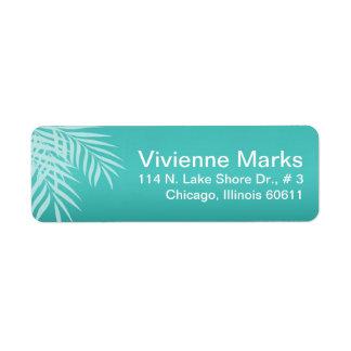 Beach Palm Tree Silhouette | aqua Return Address Label