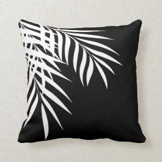 Beach Palm Tree Silhouette | black & white Throw Pillow