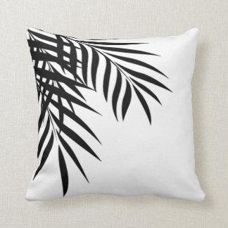 Beach Palm Tree Silhouette | white & black Throw Pillow