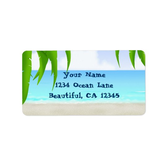 Beach, Palm Trees and Ocean Address Labels