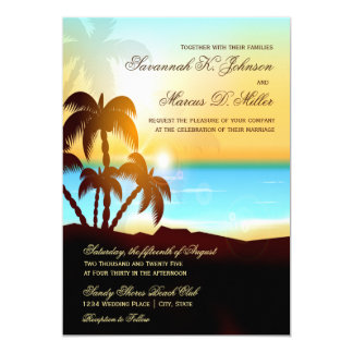 Beach Palm Trees Destination Wedding Invitations