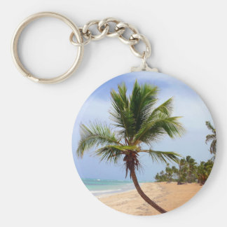 Beach Palm Trees Basic Round Button Key Ring