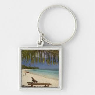 Beach, palm trees & lounger key chains
