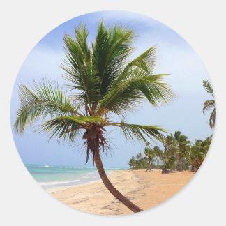 Beach Palm Trees Round Sticker