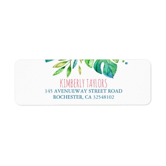 beach palms leaves wedding return address label