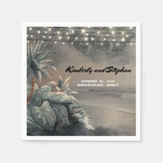 Beach Palms Lights Vintage Destination Wedding Paper Napkin