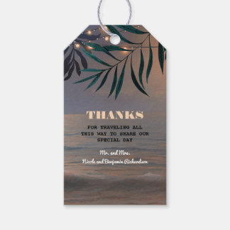 Beach Palms Sunset and String Lights Tropical Gift Tags