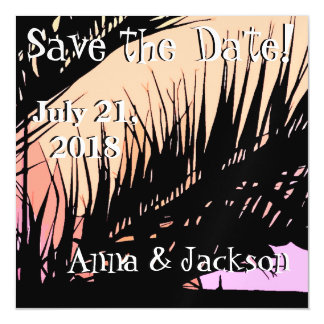 Beach Palms Sunset Save Date Magnet Card Magnetic Invitations