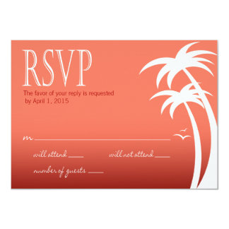 Beach Palms Tropical Wedding RSVP | coral Card