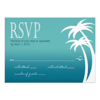 Beach Palms Tropical Wedding RSVP teal Custom Announcement