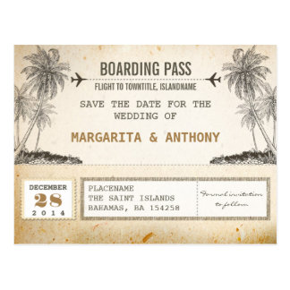beach palms vintage boarding pass save the date postcard