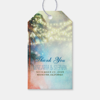 Beach Palms Watercolor Wedding Thank You