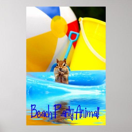 Beach Party Animal Chipmunk Poster
