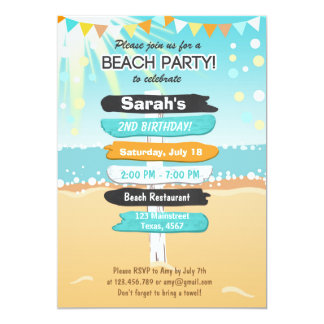 Beach Party Beach birthday Beach invitation