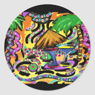 Beach Party Classic Round Sticker