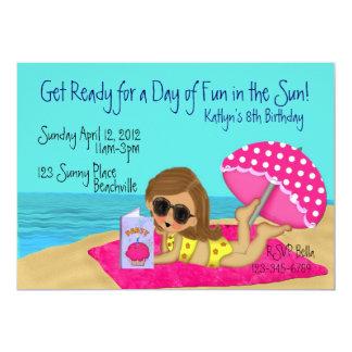 "Beach Party Custom Invitations 5"" X 7"" Invitation Card"