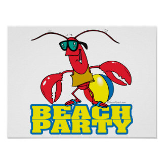 beach party cute lobster cartoon character poster