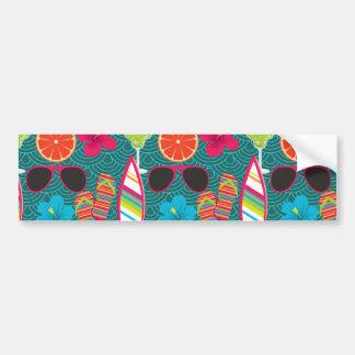 Beach Party Flip Flops Sunglasses Beach Ball Blue Bumper Stickers