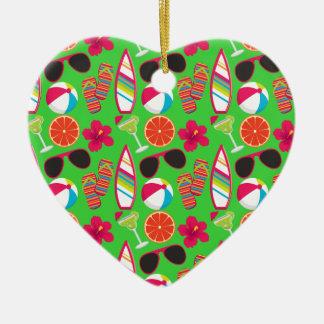 Beach Party Flip Flops Sunglasses Beach Ball Green Christmas Tree Ornaments