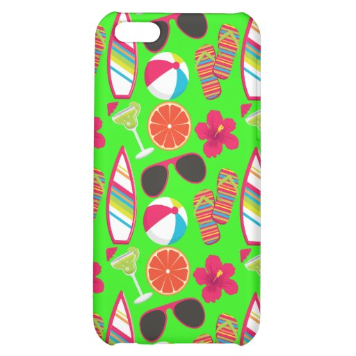 Beach Party Flip Flops Sunglasses Beach Ball Green iPhone 5C Case