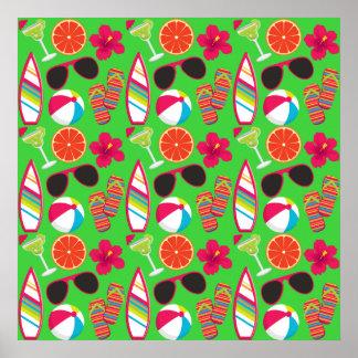 Beach Party Flip Flops Sunglasses Beach Ball Green Poster