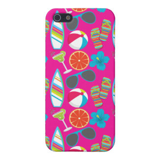 Beach Party Flip Flops Sunglasses Beach Ball Pink Cover For iPhone 5