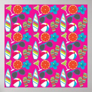 Beach Party Flip Flops Sunglasses Beach Ball Pink Poster