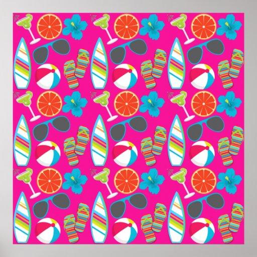 Beach Party Flip Flops Sunglasses Beach Ball Pink Print