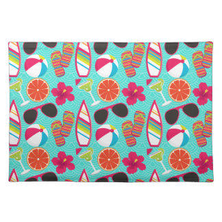 Beach Party Flip Flops Sunglasses Beach Ball Teal Placemat