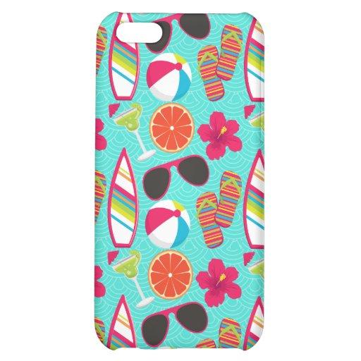 Beach Party Flip Flops Sunglasses Beach Ball Teal Case For iPhone 5C