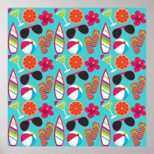Beach Party Flip Flops Sunglasses Beach Ball Teal Poster