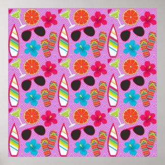 Beach Party Flip Flops Sunglasses Beachball Purple Poster