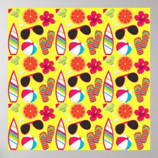 Beach Party Flip Flops Sunglasses BeachBall Yellow Poster