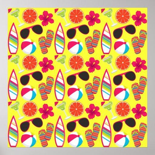 Beach Party Flip Flops Sunglasses BeachBall Yellow Print