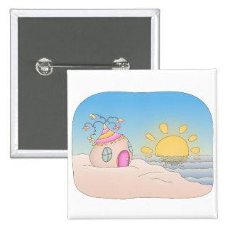 Beach Party House Pinback Button
