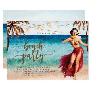 beach party invitation palm trees hula