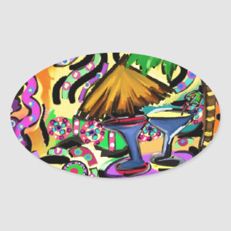 Beach Party Oval Sticker