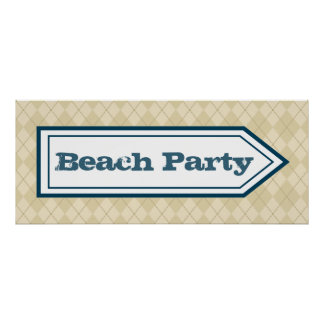 Beach Party Sign Poster