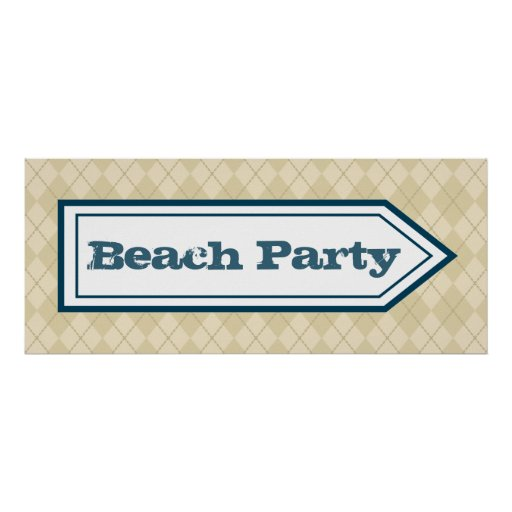 Beach Party Sign Poster Print