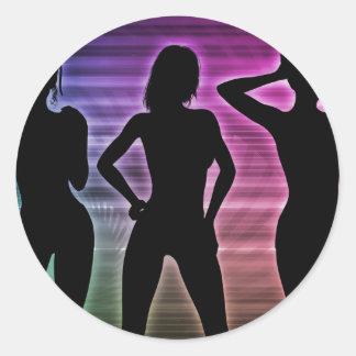 Beach Party Silhouette of Women Standing in Bikini Classic Round Sticker
