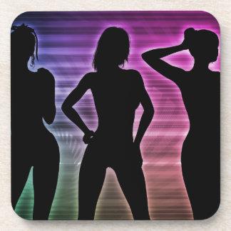 Beach Party Silhouette of Women Standing in Bikini Coaster